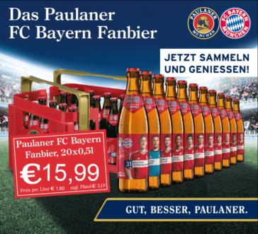 Kaufen Sie das Paulaner FC Bayern Fanbier für Sammler!
